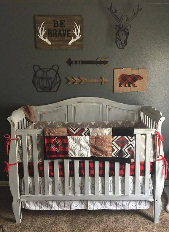 Baby Boy Crib Bedding Gray Buck Deer Skin Minky Arrow Etsy In 2020 Baby Boy Room Nursery Nursery Room Boy Crib Bedding Boy