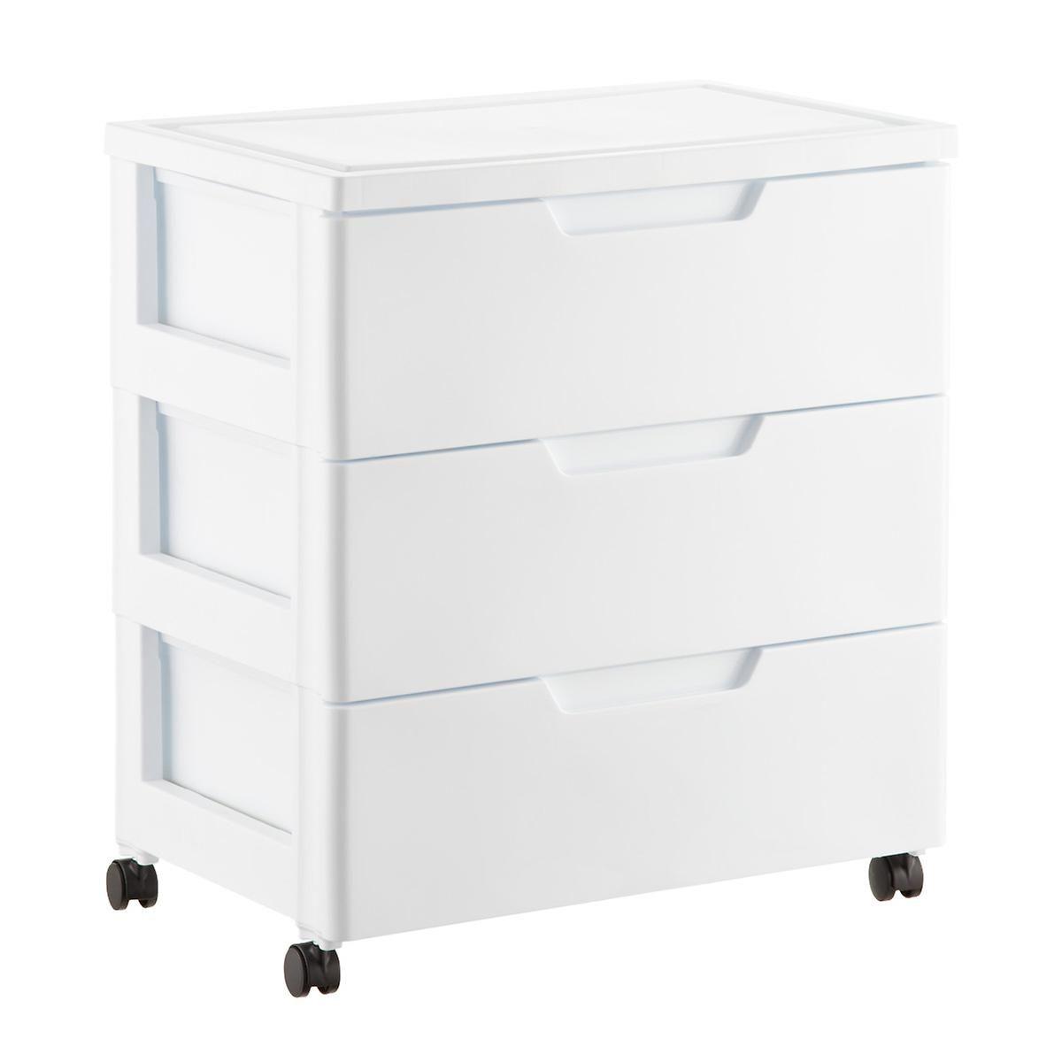 Childrens Animals Storage Box Chest 3 Kids Drawer Bedroom: Iris White 3-Drawer Premium Plastic Storage Chest With