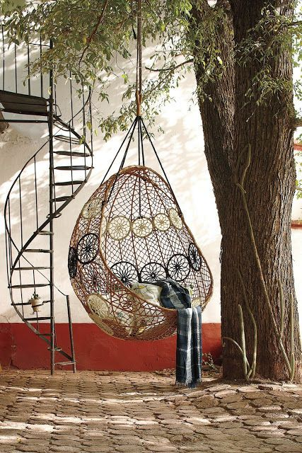 neutral hanging wicker chair with black and white dream catchers - Hanging Wicker Chair