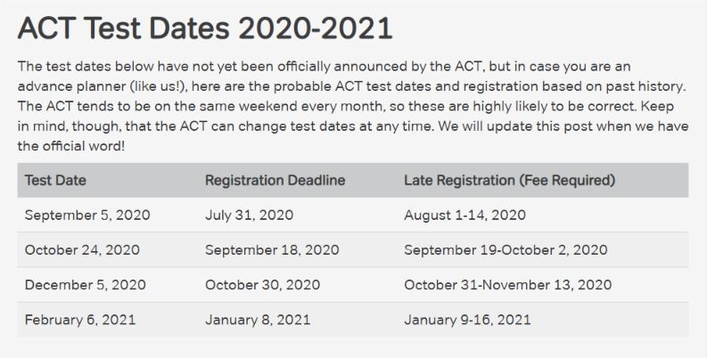 Act Test Dates 2019 20 How To Pick The Best Date For You Magoosh High School Blog In 2020 Act Test Dates Act Testing College Job