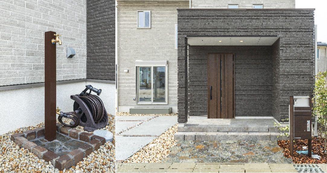 サイデシングはニチハfugeプレミアム 玄関扉 サッシ 宅配box付ポストユニットはykkap 家 外観 家を建てる 家