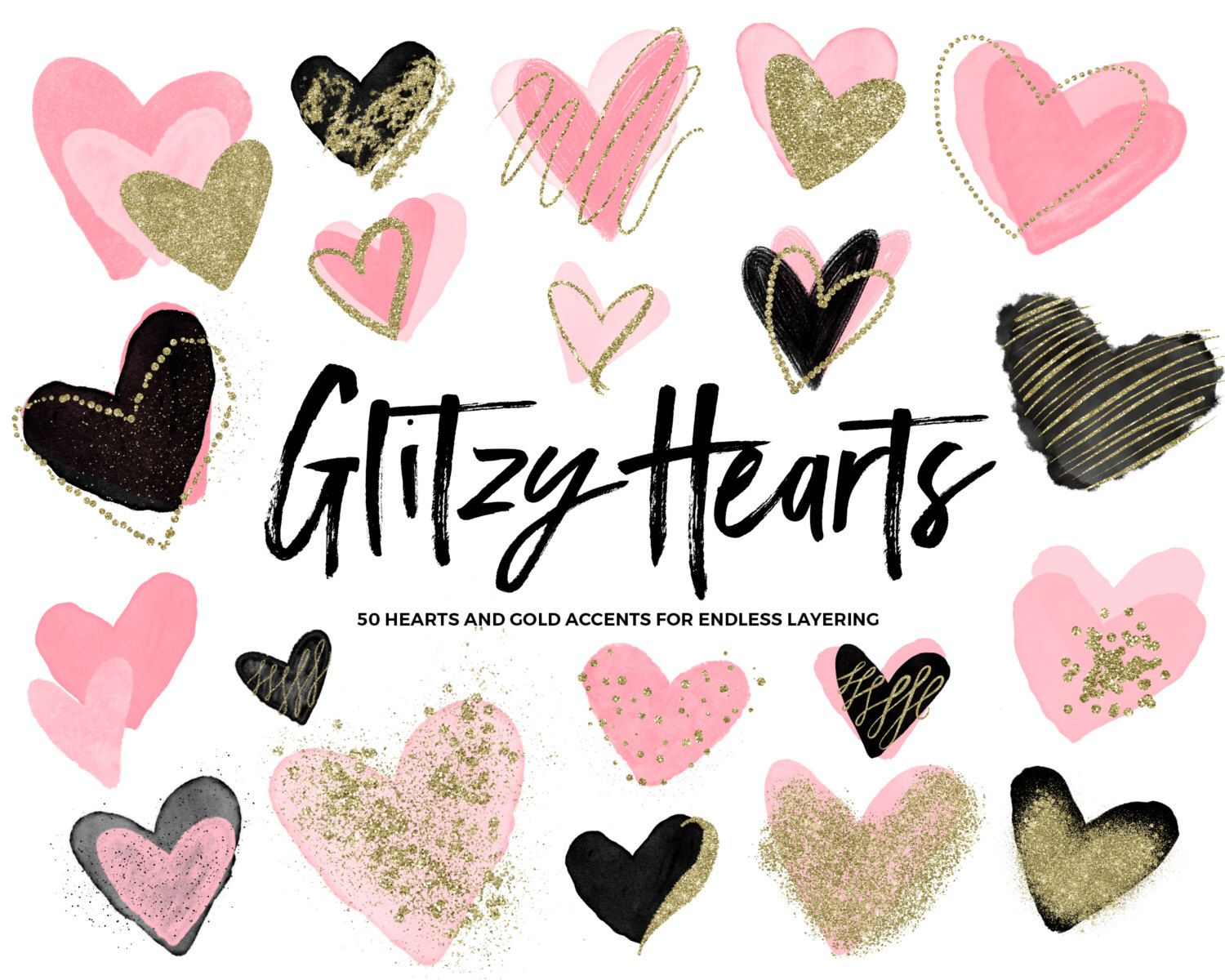 Pink Watercolor Heart Clipart / Clipart Hearts / Gold Glitter Hearts / Gold Hearts Clip Art / Valentines Clip Art / Valentines Day Clipart by Everdawn on Etsy https://www.etsy.com/listing/488411544/pink-watercolor-heart-clipart-clipart