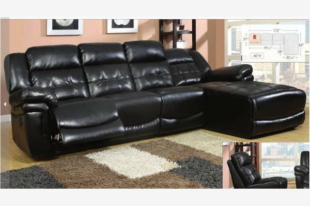 leather sectional sofa chaise recliner photo 3 furniture