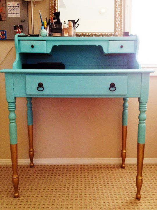 Painted Desks try-it-now trend: dip-painted desks | white furniture and bright
