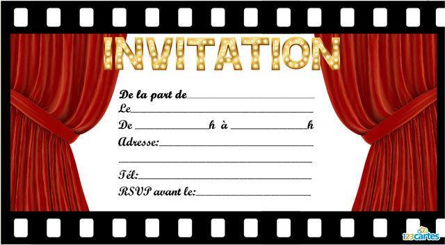 Berühmt Invitation anniversaire cinéma à imprimer avec un cadre sous forme  EQ95