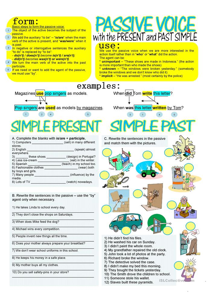 PASSIVE VOICE WITH SIMPLE PRESENT AND PAST Worksheet - Free ESL Printable  Worksheets Made By Teachers Active And Passive Voice, Simple Past Tense,  Passive
