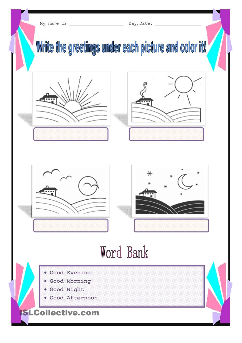 Worksheets Spanish Greetings And Goodbyes Worksheets parts of the day afag pinterest adverbs worksheets and worksheet free esl printable made by teachers