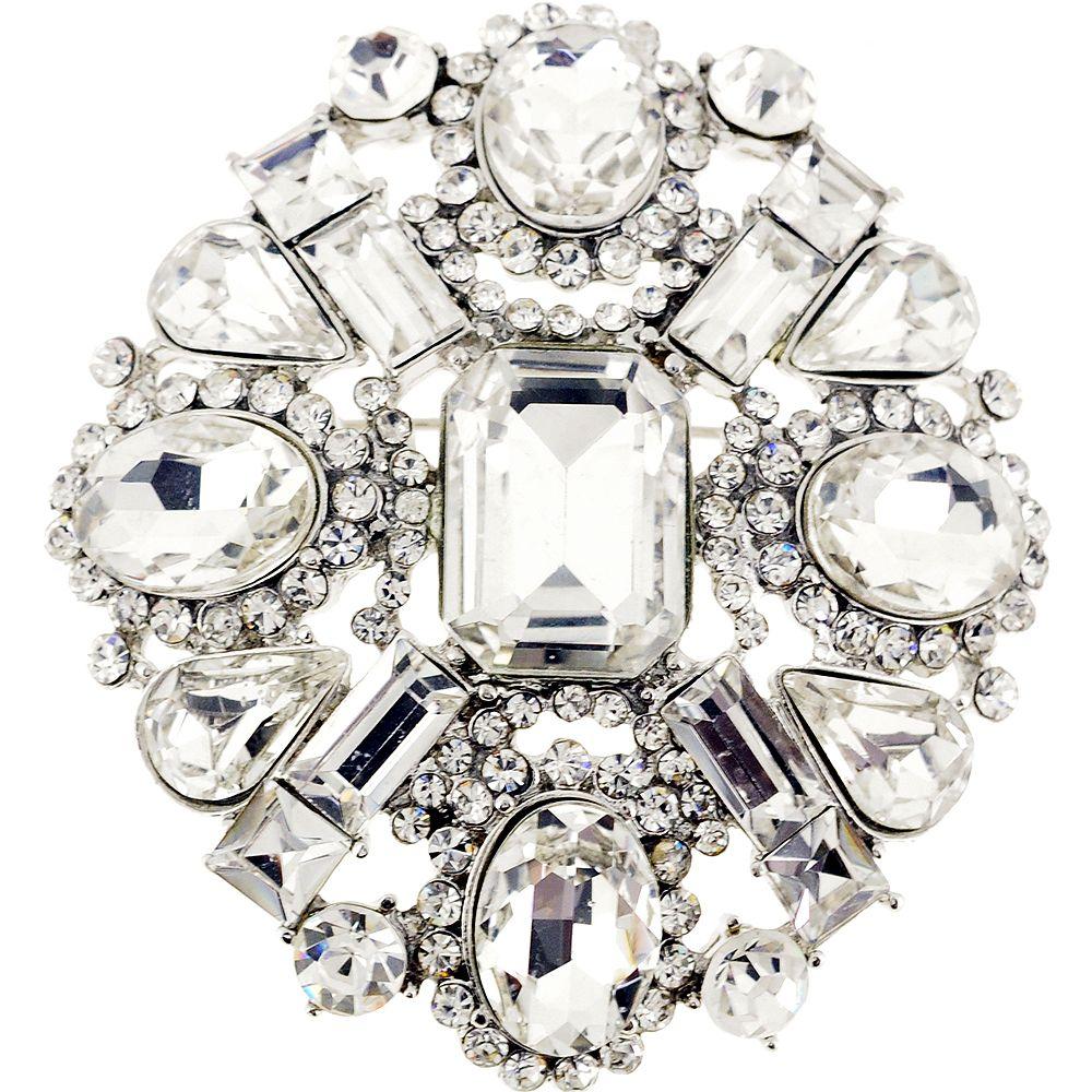 Chrome Flower Bridal Wedding Crystal Pin Brooch