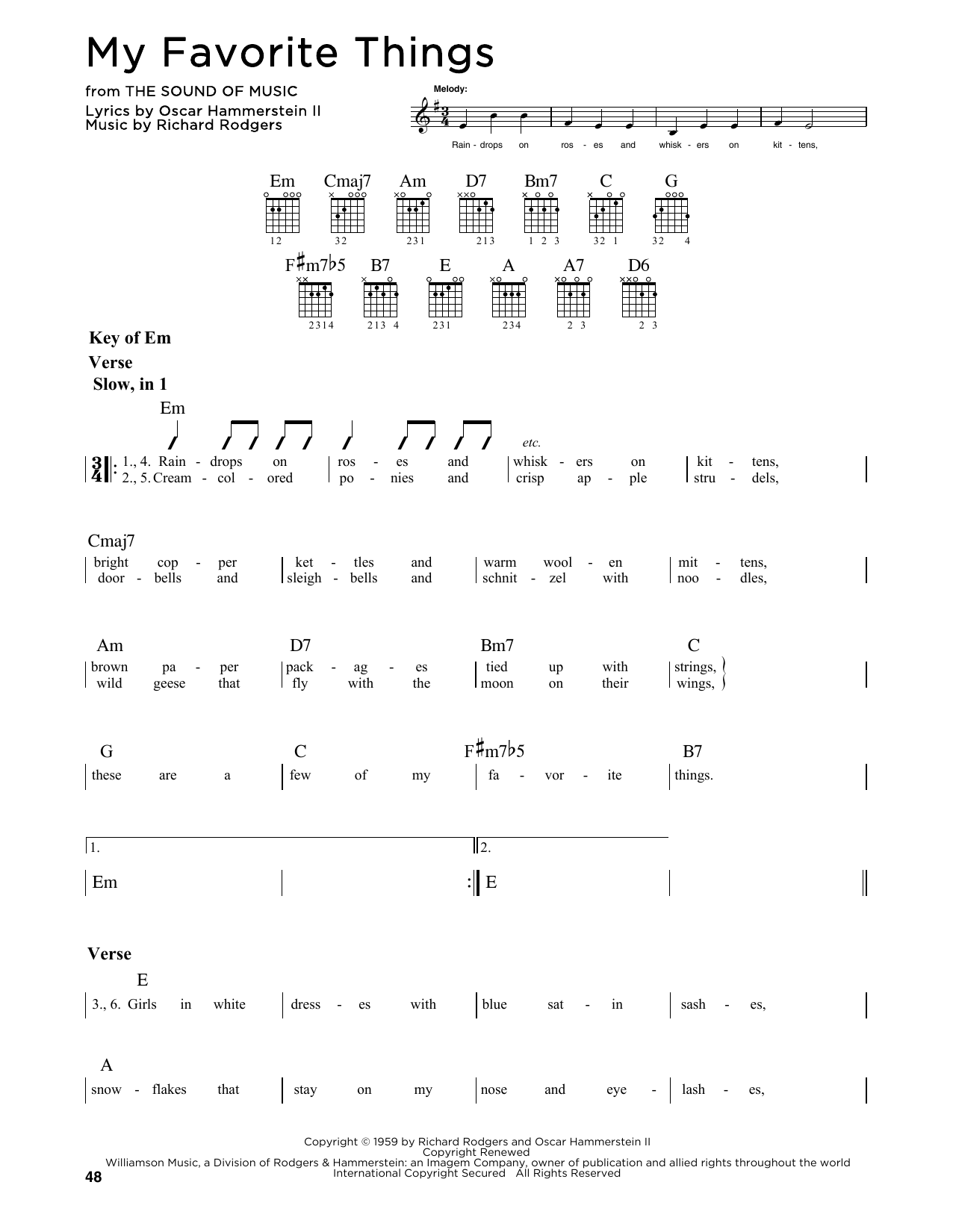 My Favorite Things By Rodgers Hammerstein Guitar Lead Sheet