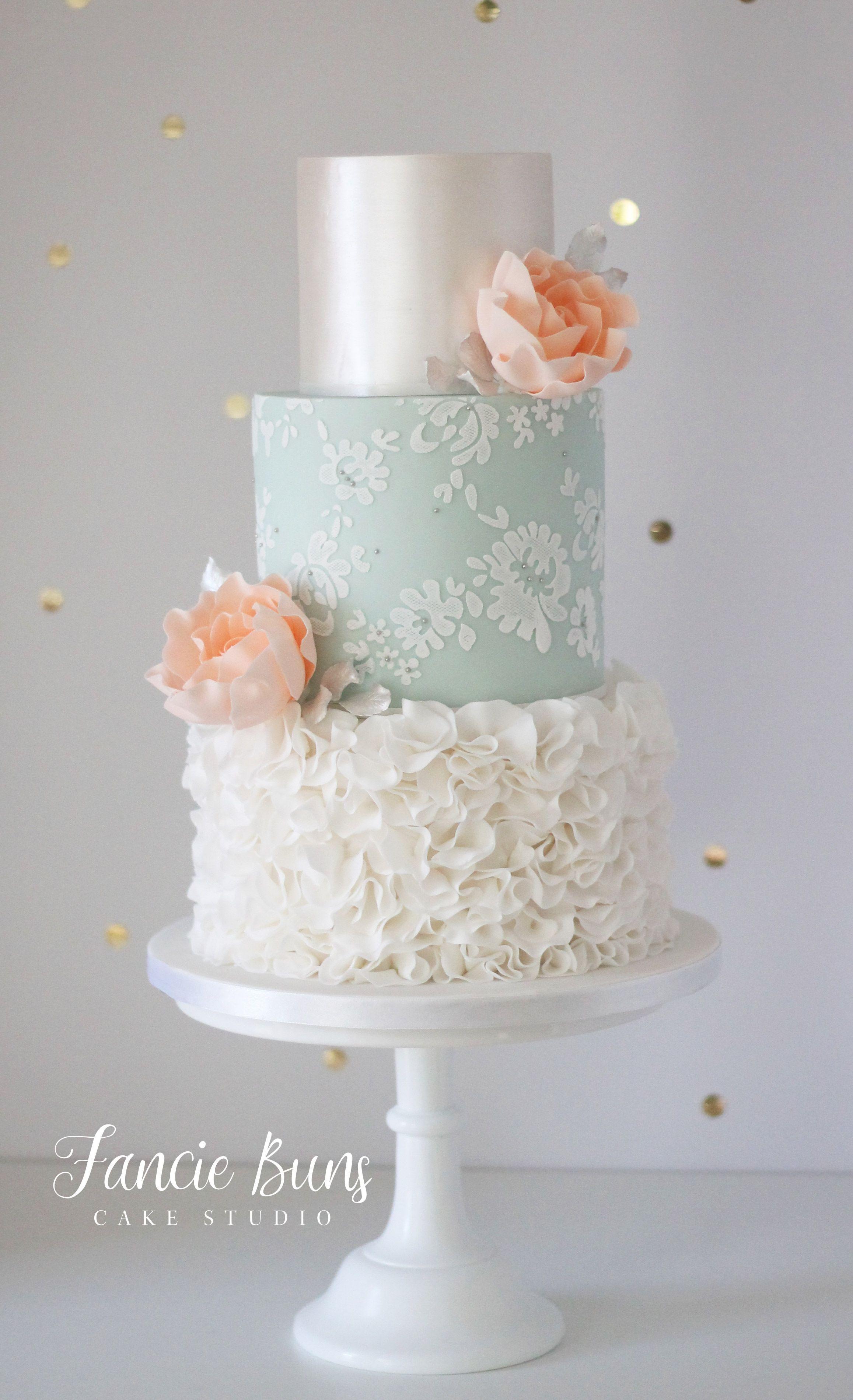 Peach Roses Lustre Ruffle Lace Wedding Cake Wedding Cake