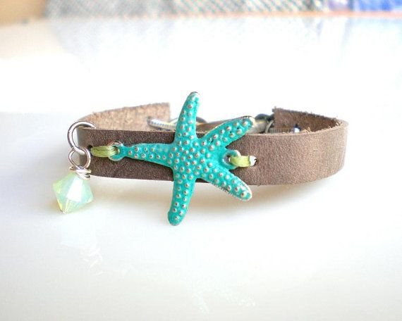 Turquoise Starfish Leather Bracelet. Grey Leather. by KesTdesigns, $32.00