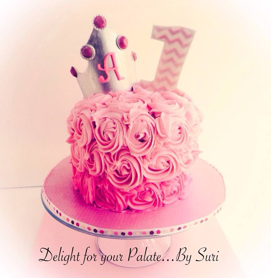 First Birthday Cakes - * Smash cake !!! rosette with beautiful princess crown and #1 in chevron !!!