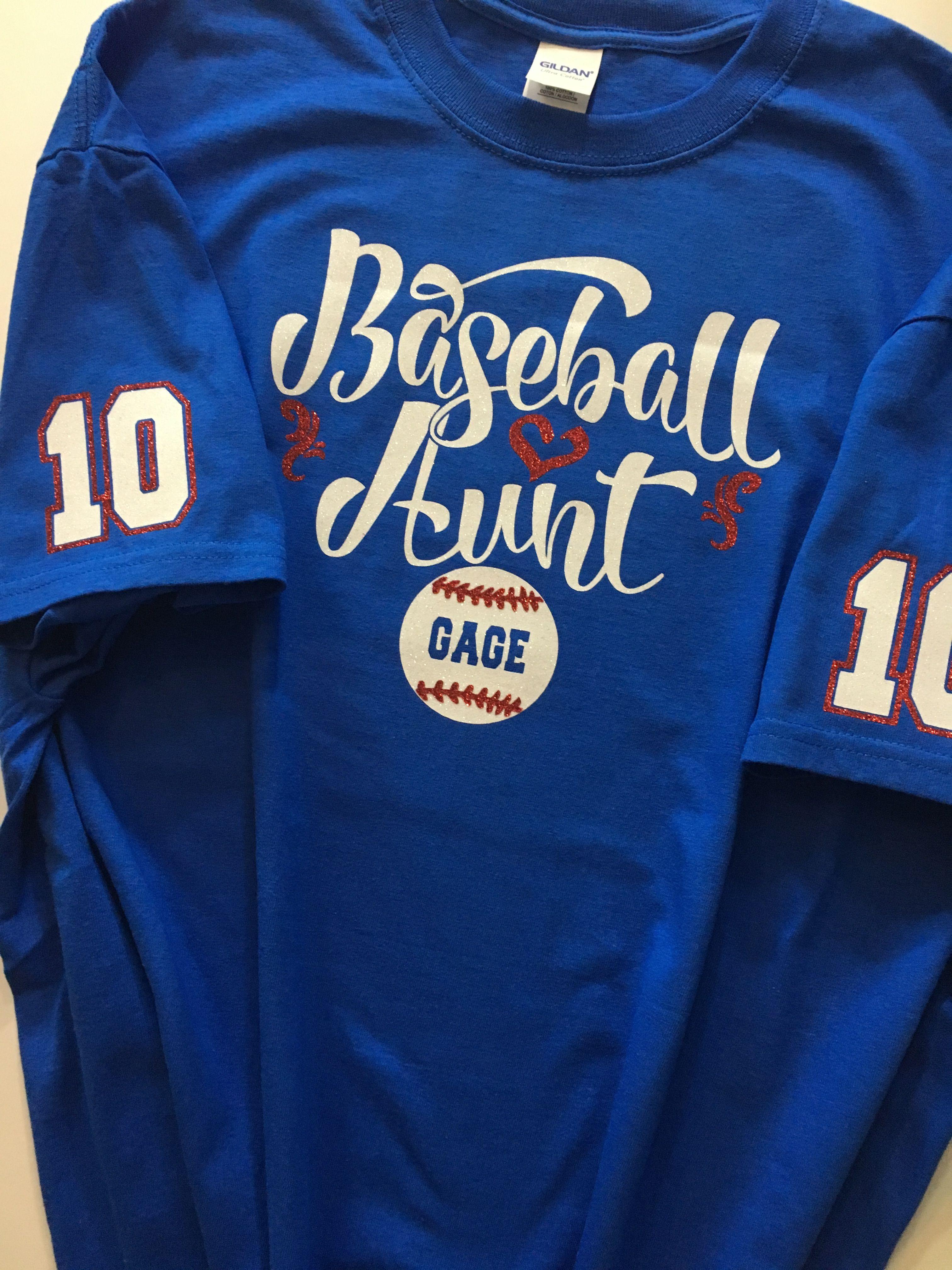Baseball Aunt Glitter Or Matte Vinyl Shirt Personalized Etsy Workout Shirts Fan Shirts Custom Shirts