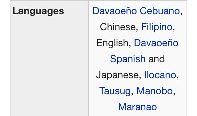 Basic languages within the city  | Metro Davao is home