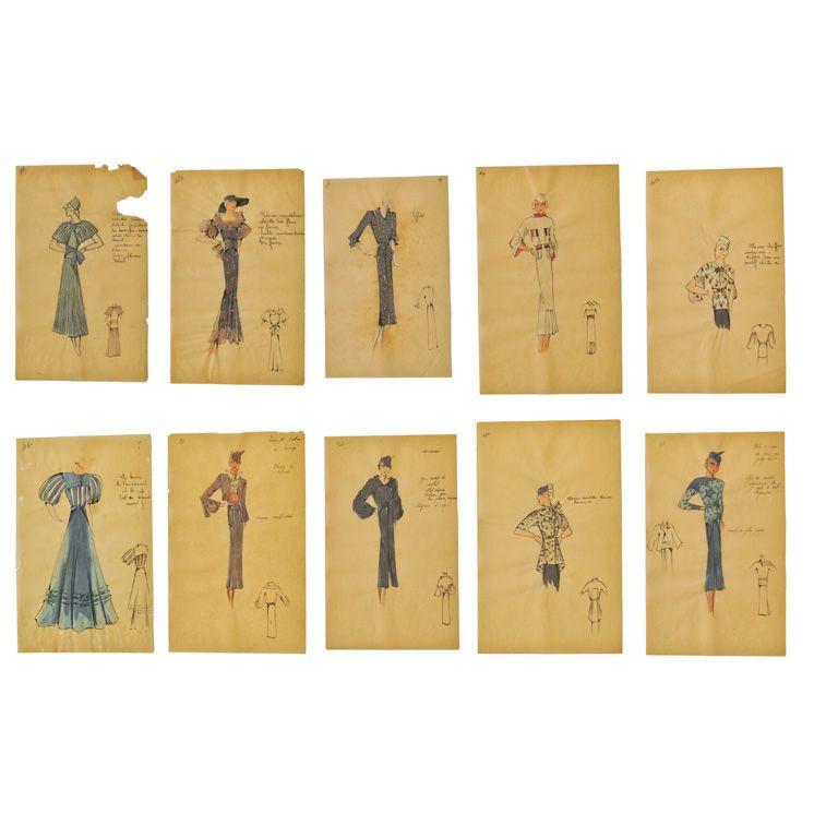 Original French Watercolor Fashion Drawings | Fashion drawings ...