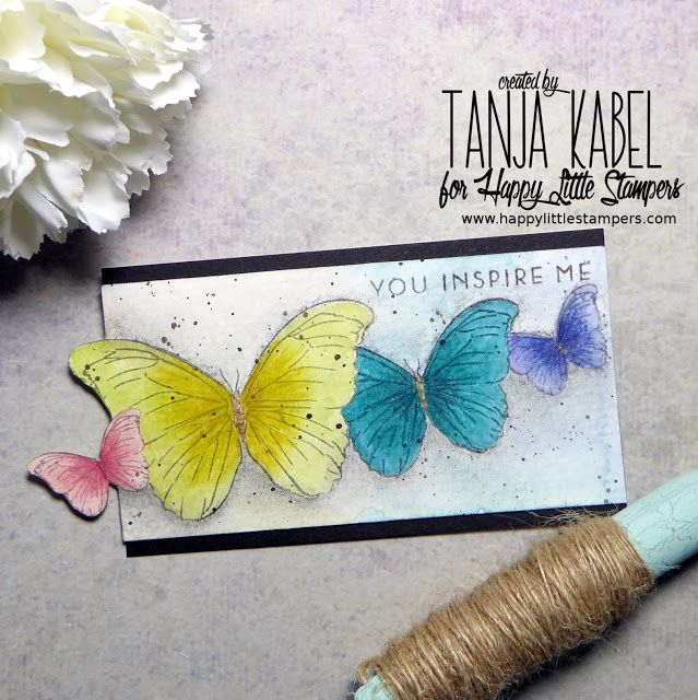 You inspire me Butterflies - http://littleartcottage.blogspot.de/2017/05/you-inspire-me-butterflies.html #hls #happylittlestampers #wplus9 #mask #altenew #danielsmith #fabercastell #polychromos #charcoal #handmade #stamps #stamping #cardmaking