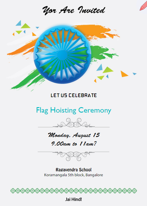 Invitation For Flag Hoisting In Schools Indiya Invitation Maker