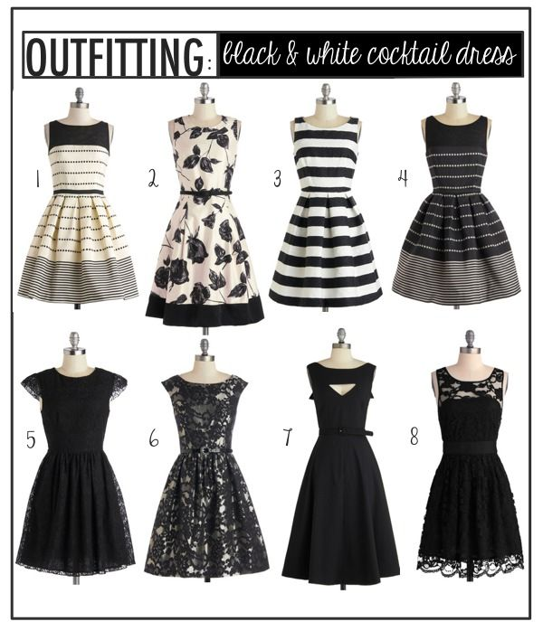 Outfitting: Black & White Cocktail Dresses | White cocktail dress ...