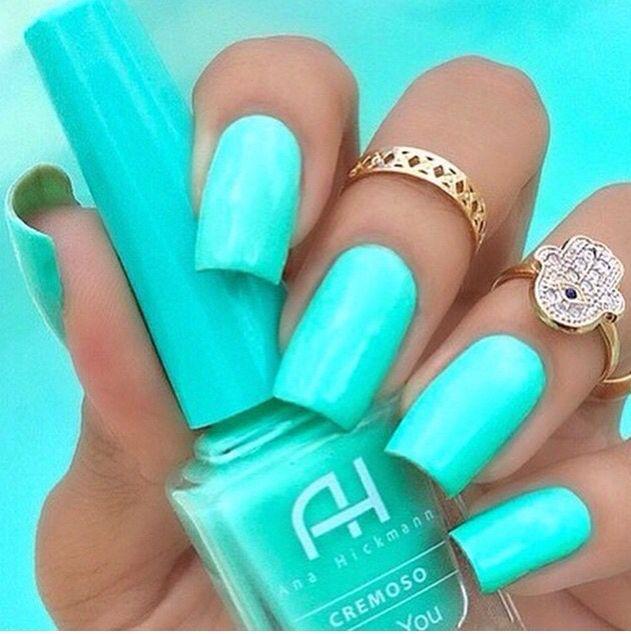 Mint Green Acrylic Nails Teal Nails Nails Neon Nails