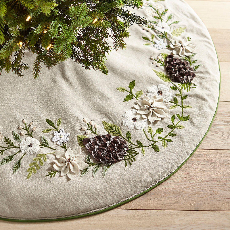 Woodland Wonders Embroidered Floral Tree Skirt Tree