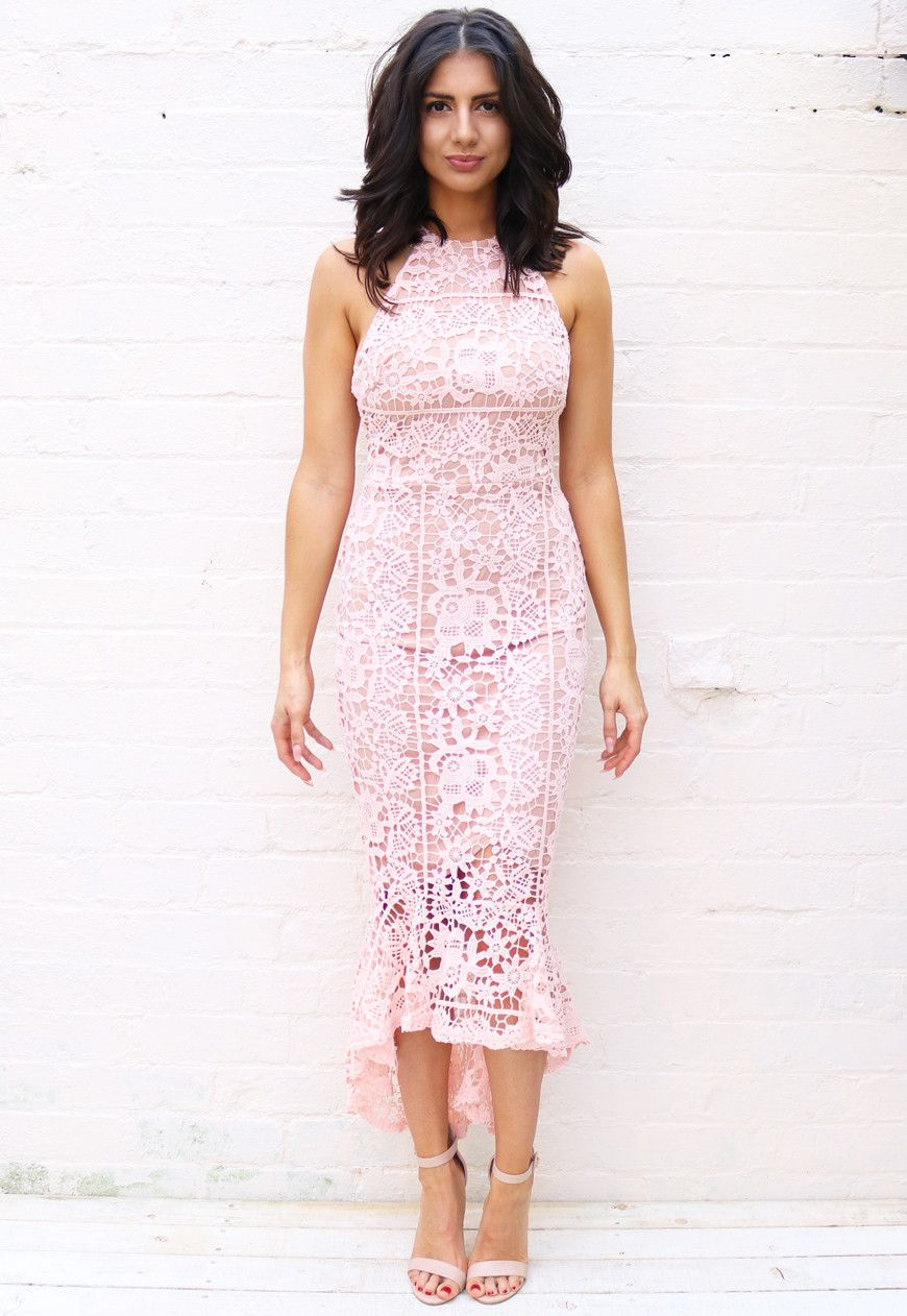 a12775cefa02 High Neck Cutaway Shoulder Lace Midi Dress with Fishtail Frill Hem in Pink  & Nude