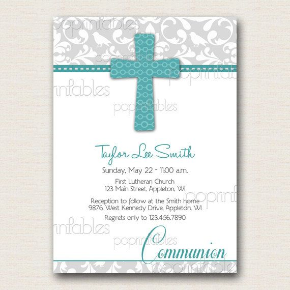 photo regarding First Communion Cards Printable called Baptism or Initial Communion Invitation Damask Gray Turquoise