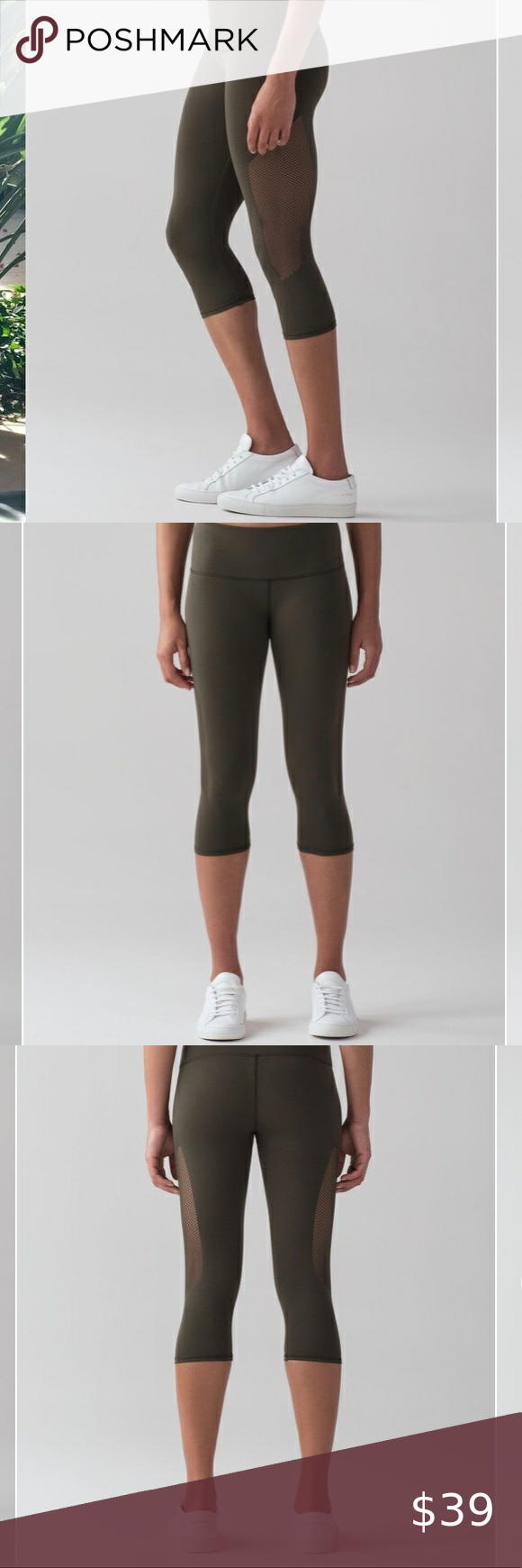 Lululemon Reveal Crop 15 Dark Olive Yoga Legging Express Yourself With A Striking Sweep Of Stylized Ventilation In 2020 Cropped Leggings Pants For Women Yoga Leggings