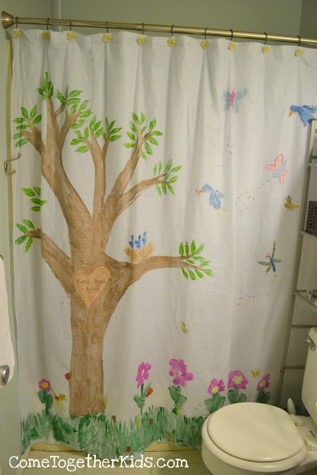 Paint A Shower Curtain Mural With Images Kids Shower Curtain