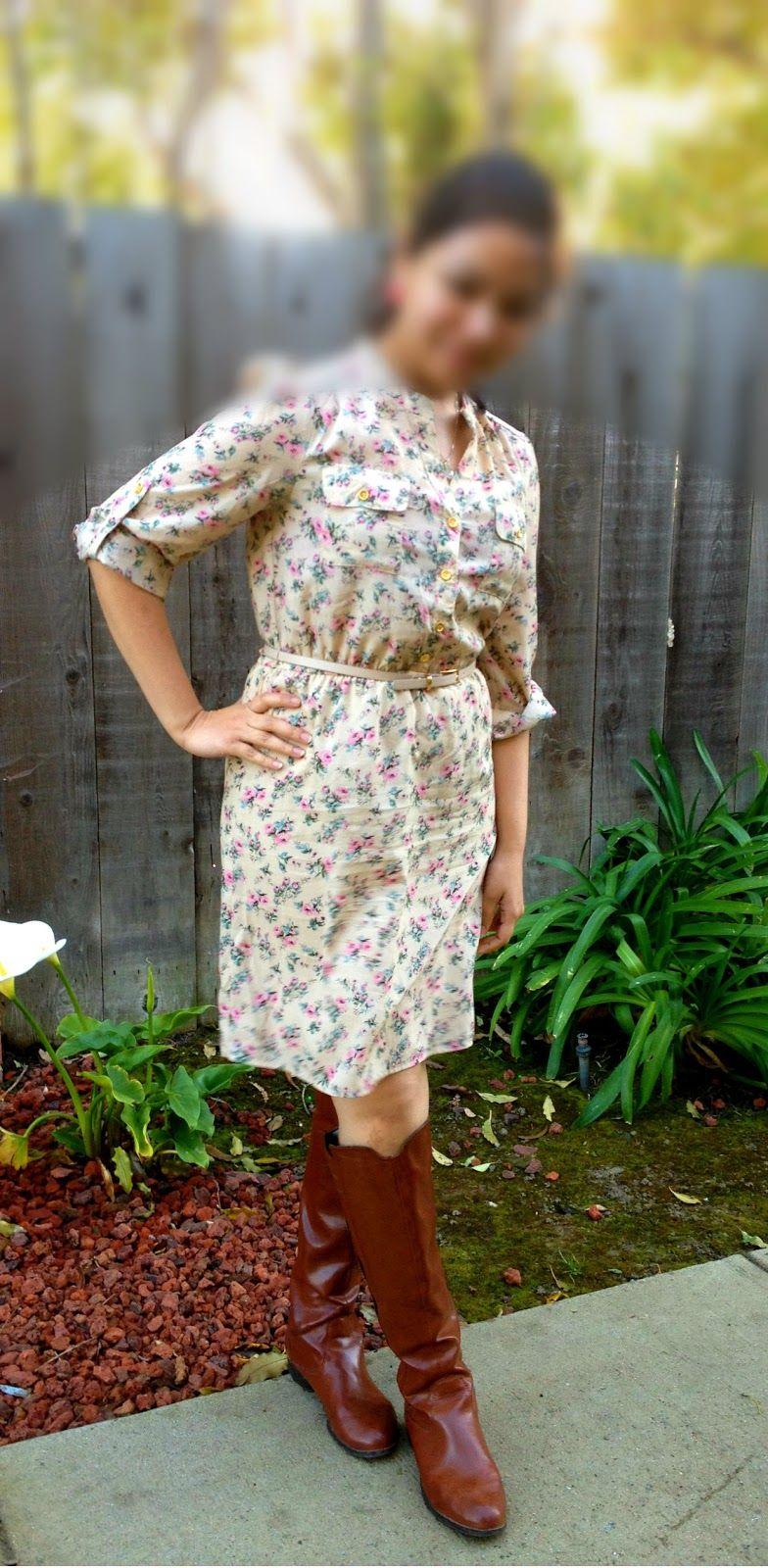 Floral shirtdress and riding boots, dainty clear pendant
