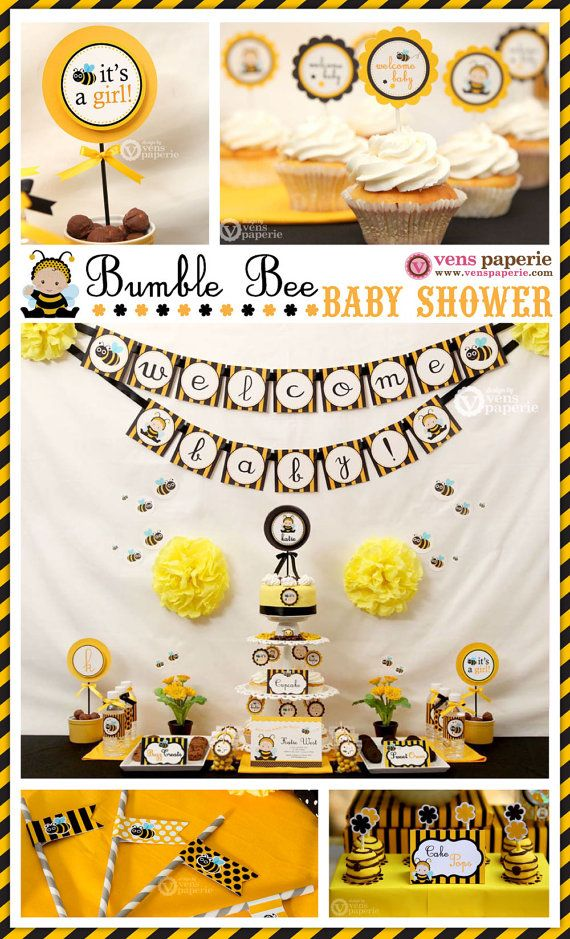 Bumble Bee Baby Shower Package Personalized FULL by venspaperie, $35.00