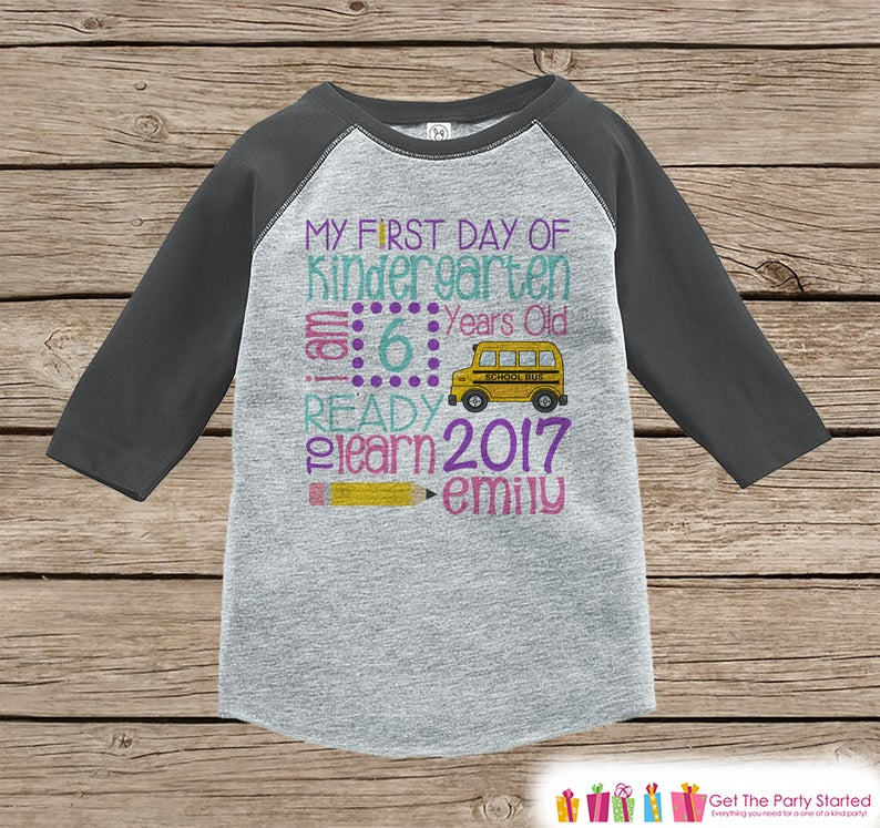 First Day of Kindergarten Shirt - Girls Back To School Kindergarten Stats Shirt - Kids Stats Grey Raglan - My First Day of School Shirt #firstdayofschooloutfits