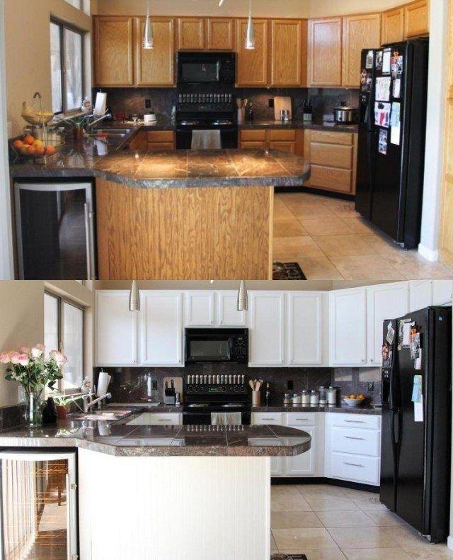Rénovation cuisine: 37 idées armoires et photos avant/après #homestagingavantapres