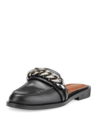 fa76d8469fe GIVENCHY CHAIN LEATHER LOAFER MULE