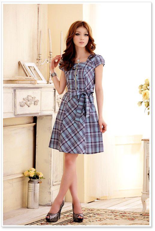 JK3205 Blue Korean Fashion Dress Short Sleeve Malaysia Online Shopping 7e29012f3e