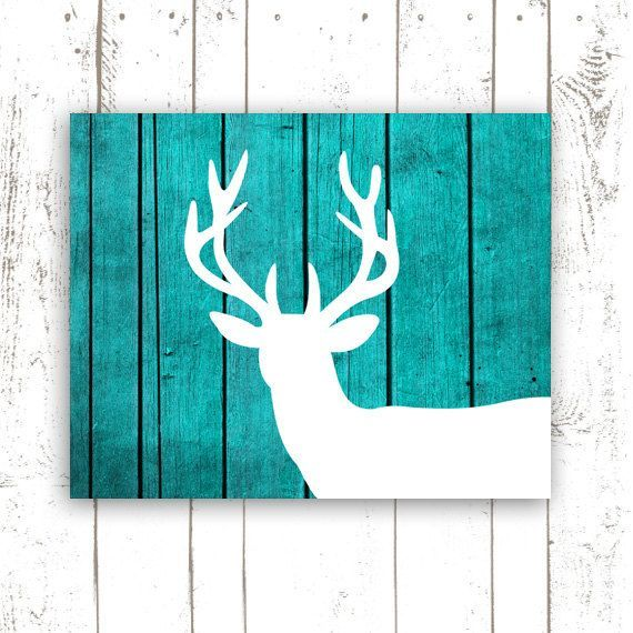 Deer Art Print On Wood Background Rustic Turquoise Home Decor Printable File Instant