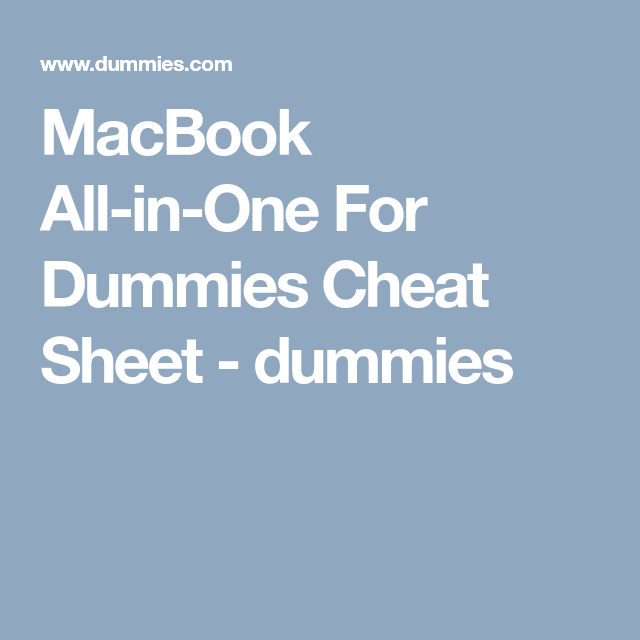 MacBook AllinOne For Dummies Cheat Sheet dummies