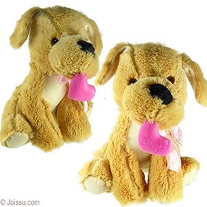 Plush Tan Dogs W Pink Heart With Button Eyes Super Soft Bodies