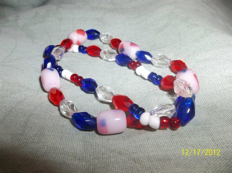 red, white and blue plastic beads on elastic bracelet set ...