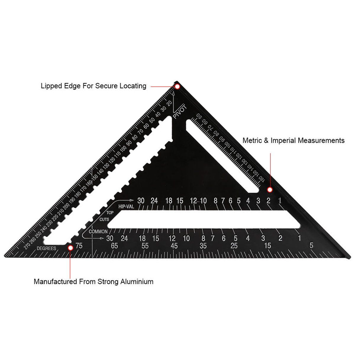 Ertianang Aluminium Roofing Trisquare Ruler 12 Inch Rafter Angle Frame Black For Carpenter Woodworking Meas Measuring Tools Woodworking Woodworking Tools Ruler