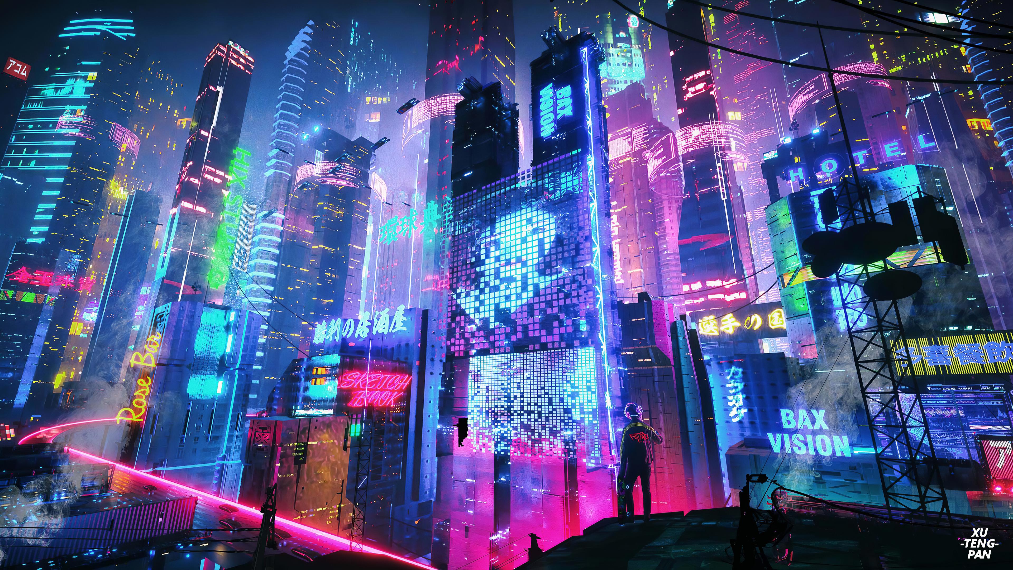 City By Xuteng Pan 3840x2160 Desktop Wallpaper Art Aesthetic Desktop Wallpaper Neon Wallpaper