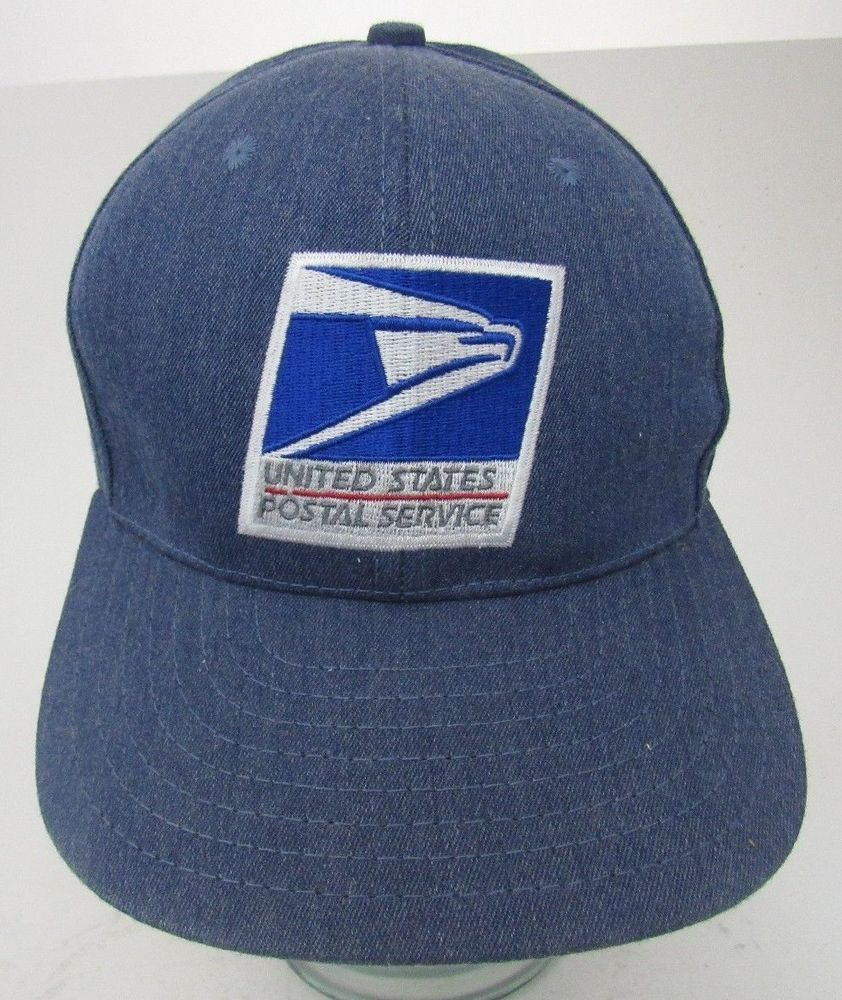 Vtg full denim usps united states postal service hat cap usa rare a fashion  clothing shoes d5ad41e643cc