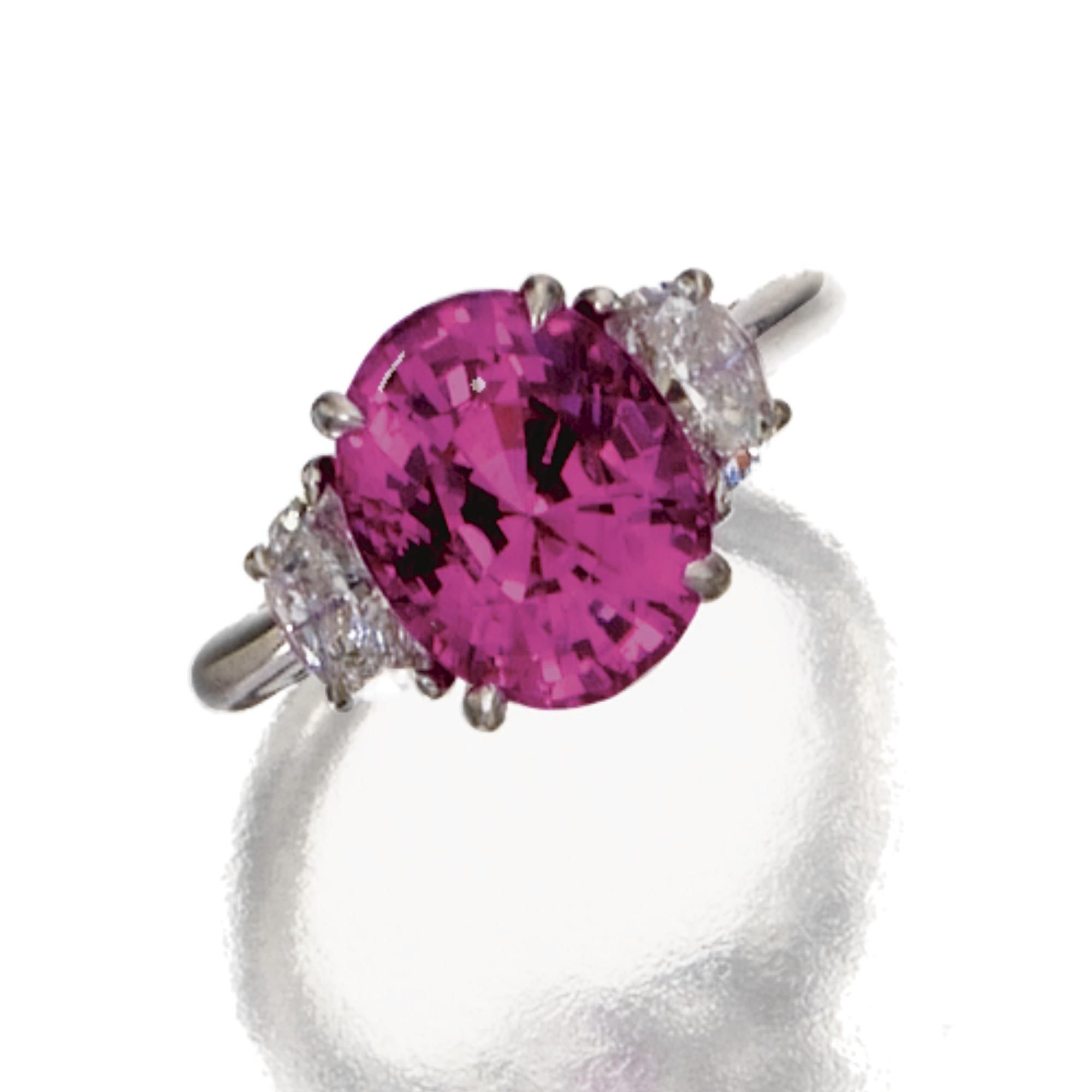 Pink Sapphire And Diamond Ring, Tiffany & Co The Oval Pink Sapphire  Weighing 502