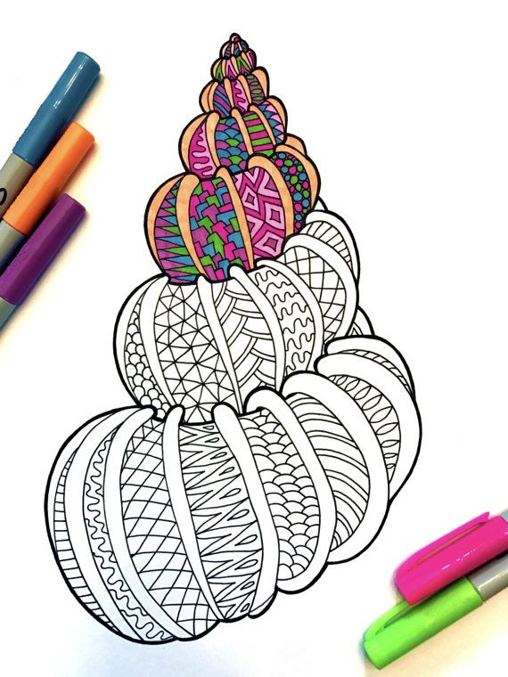 Seashell 2 PDF Zentangle Coloring Page By DJPenscript On Etsy