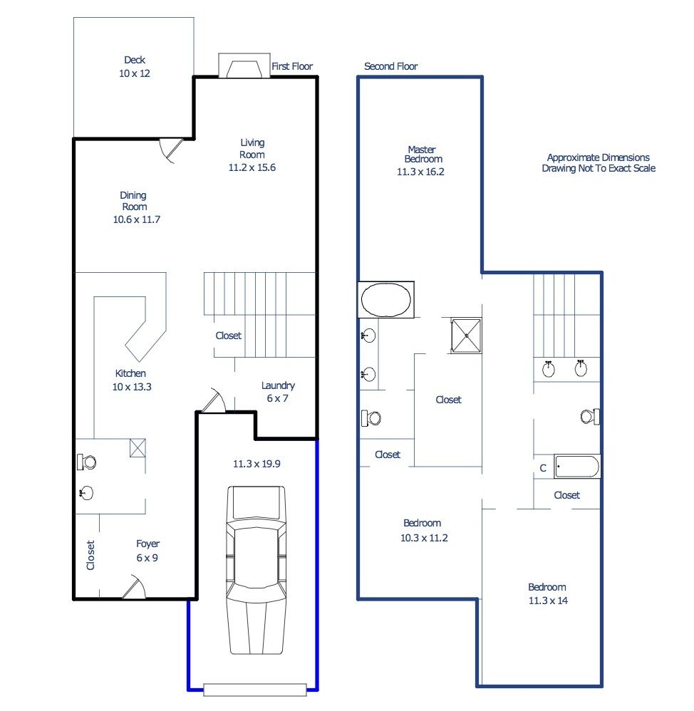 Triangle Place Apartments: Triangle Town Center Townhome - Floor Plan