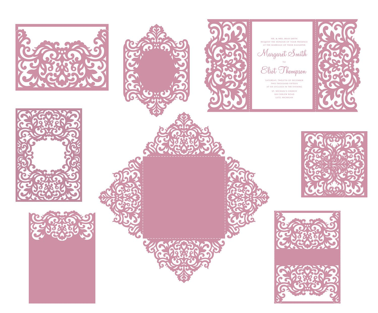 Set Laser cut Wedding Invitation Templates Gate Fold Card / Envelope ...