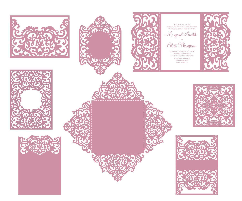 Set Laser Cut Wedding Invitation Templates Gate Fold Card Envelope - Wedding invitation envelope design templates