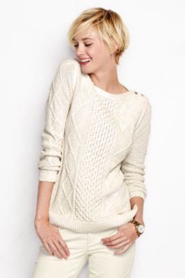 Women S Lofty Blend Lurex Aran Sweater From Lands End In