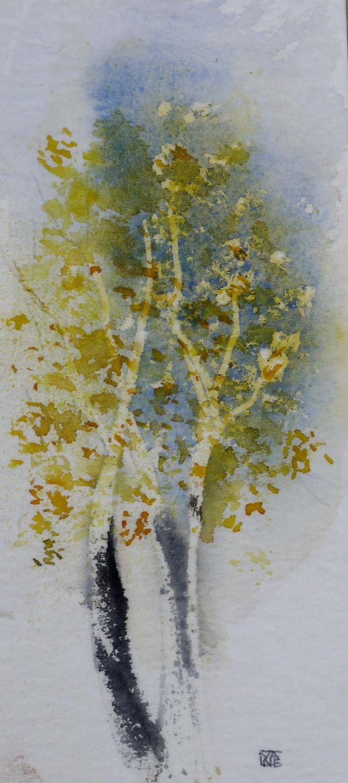 Tableau peinture art contemporain aquarelle les bouleaux for Tableau peinture contemporain
