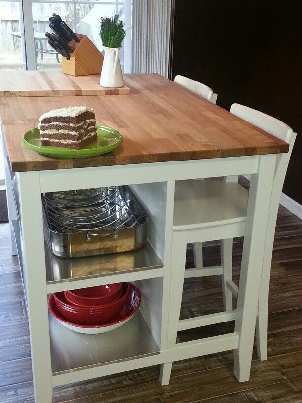 Ikea 39 s butcher block table with stainless steel shelves - Small butcher block island ...