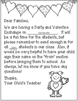 Editable Valentine S Day Party Letter To Families Parents